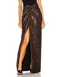 Brandon Maxwell High Slit Maxi Skirt - Brown