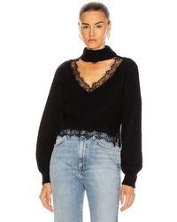 BROGNANO Lace Trim Jumper - Black
