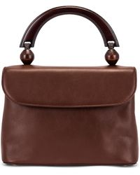 BY FAR Fiona Leather Top Handle Bag - Braun