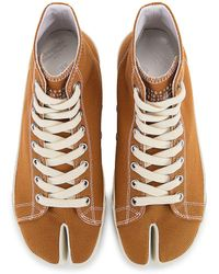 Maison Margiela Tabi High Top Canvas-Sneakers - Braun