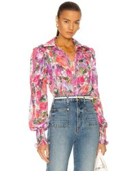 PATBO Blossom Button Front Blouse - Pink