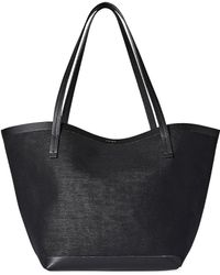 The Row Park Three Canvas And Leather Tote - Black