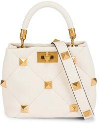 Valentino Garavani Garavani Small Roman Stud Top Handle Bag - White