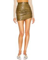Zeynep Arcay Mini Draped Leather Skirt - Green