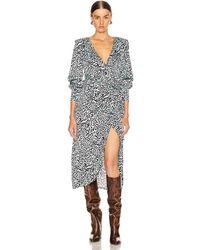 ANDAMANE Carly Wrap Midi Dress - Blue