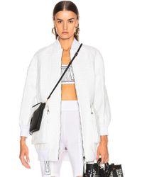 Fendi Logo Embossed Leather Jacket - White