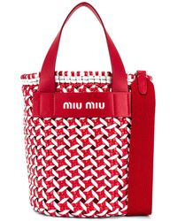 Miu Miu Straw Bucket Bag - Rot