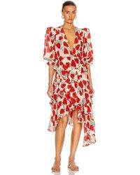 Adriana Degreas Asymmetric Ruffle Midi Dress - Red