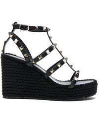 Valentino - Rockstud Leather Wedge Sandals - Lyst