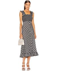 Ganni Check Print Ruched Dress - Black