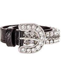 Alessandra Rich Leather & Crystal Cowboy Belt - Black