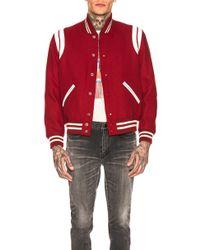 Saint Laurent Teddy Varsity Jacket - Red