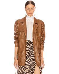 ANDAMANE Carine Faux Leather Croco Print Jacket - Brown