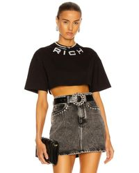 Alessandra Rich Crop T Shirt - Black