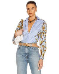Versace Button Down Long Sleeve Top - Blau