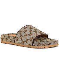 Gucci Logo Sideline Slides - Brown