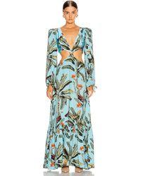 PATBO Tropical Print Cutout Maxi Dress - Blue