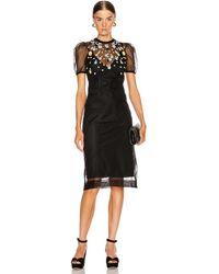 Miu Miu Short Sleeve Floral Embroidered Dress - Black