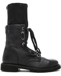 RTA Leather Combat Boots - Black