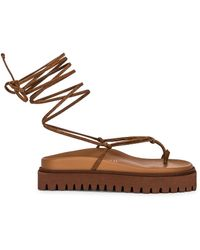 The Attico Renee Lace Up Thong Sandal - Brown