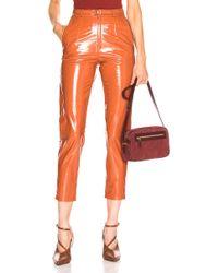 Zeynep Arcay Mom Patent Leather Pants - Orange