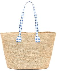 Mark Cross Raffia & Gingham Cote D Tote - Multicolour