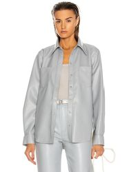 Agolde Paloma Vegan Leather Shirt - Grau