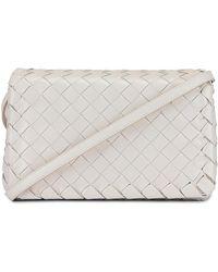 Bottega Veneta Leather Woven Crossbody Bag - White