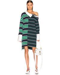 Monse Striped Shirt Dress - Green