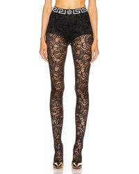 Versace All Over Lace Tights - Black