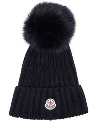 Moncler - Fur Pom Ribbed Beanie In Navy Blue - Lyst