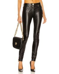 Versace Leather Skinny Pant - Black