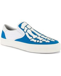 Amiri Flame Leather-appliquéd Canvas Slip-on Sneakers - Blue