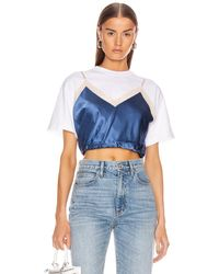 Alexander Wang Draped Cami Hybrid T-shirt - Blue