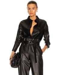 Yves Salomon Lamb Leather Shirt - Black
