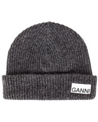 Ganni Recycled Wool Knit Beanie - Gray