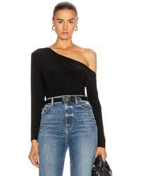 Norma Kamali Long Sleeve Drop Shoulder Bodysuit - Black