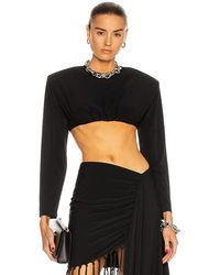 Daniele Carlotta Long Sleeve Crop Top - Black