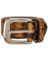 Maison Margiela Leather Python Belt - Brown