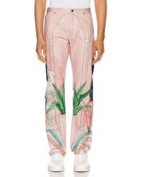 CASABLANCA Chambre 602 Printed Denim Jeans - Pink