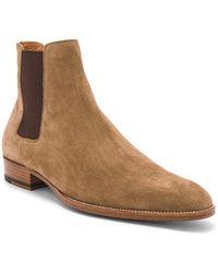 Saint Laurent Chelsea-Boots Wyatt aus Rauleder - Braun
