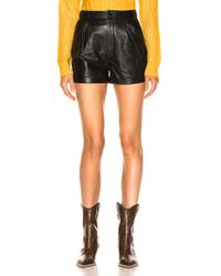 FRAME - Pleated Leather Shorts - Lyst