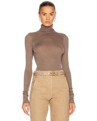 Enza Costa Silk Cashmere Rib Long Sleeve Turtleneck Top - Multicolor