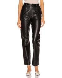 Zeynep Arcay Leather Cigarette Pant - Black