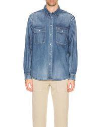 Visvim Short Sleeve Handyman Damaged Shirt - Blau