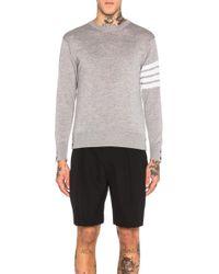 Thom Browne Classic Merino Crewneck Sweater - Gray