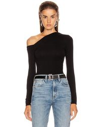 Enza Costa Angled Exposed Shoulder Long Sleeve Top - Black