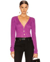Caroline Constas Long Sleeve Cardigan Top - Purple