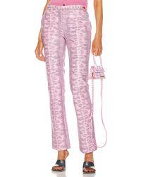 Sies Marjan Karima Embossed Lizard Straight Leg Pant - Pink