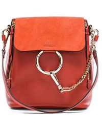 Chloé - Small Faye Calfskin & Suede Backpack - Lyst